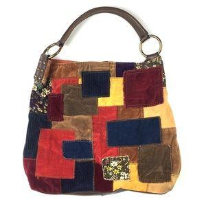 Lucky Brand Velvet Corduroy Patchwork Boho Bag